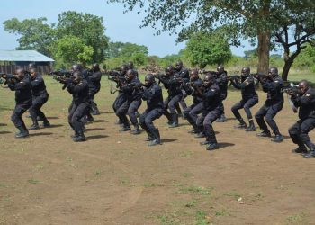 Some of the trainees showcasing some of their tactics in Katakwi district on Wednesday (PHOTO/Courtesy)
