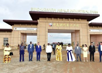 President Museveni and other officials in a group photo with Sino-Uganda Industrial Park investors after the launch on Thursday in Mbale (PHOTO/PPU)