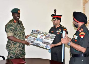 CDF Muhoozi has awarded Indian military trainers at army headquarters (PHOTO/Courtesy).