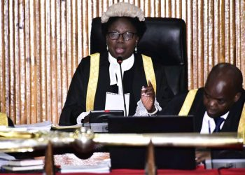 Speaker Rebecca Kadaga during Tuesday's plenary sitting (PHOTO/Courtesy).