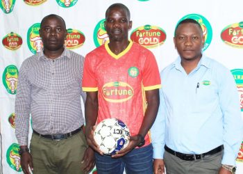 Magala (center) was unveiled at BUL FC on Thursday. (PHOTO/Courtesy)