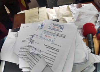 Some of the documents allegedly destroyed by Mr. Bizibu (PHOTO/Courtesy)