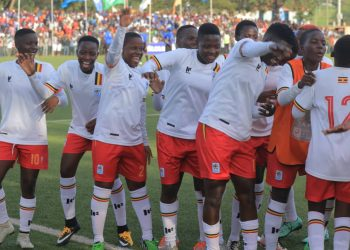 Uganda's players celebrate one of their five goals against Tanzania on Saturday. (PHOTO/Courtesy)