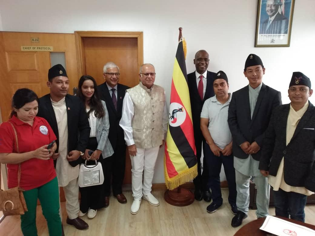 Dr Sudhir accompanied by Nepalis residents and Ambassador Jhabindra Aryal in Uganda presents credentials to foreign affairs minister Sam Kutesa (PHOTO/PML Daily)