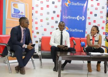 L-R: Desire Mugumisa (PRO- Next Media), Greg Busolo (Operations Manager- Sanyuka TV) and Cleopatra Koheirwe PR Manager-StarTimes (PHOTO/PML Daily).