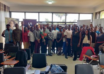 University science, engineering and technology students together with representatives from Unicaf and Silver Bullet take a photo at the launch of the 2020 Student Development Program in Kampala.