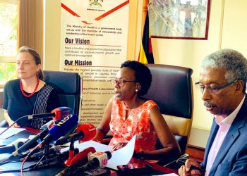 The Minister of Health, Jane Ruth Aceng flanked by WHO officials updates public on Uganda's enhanced measures to prevent the importation of COVID-19 (PHOTO/PML Daily)