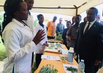 The Minister for Science, Technology and Innovations Dr. Elioda Tumwesigye specting the stall of the department of Agriculture science and Entrepreneurship at UCU (PHOTO/Elizabeth Namajja)