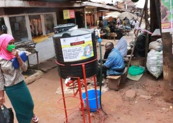 One of the handwashing facilities installed by NWSC at one of the markets in Kampala (PHOTO/Courtesy).