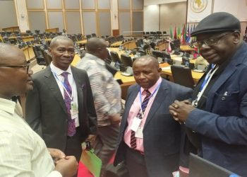 Committee Clerk Boniface Habana (left), Pan African Parliament MPs, Hon. James Kakooza (Uganda), Hon. Pupurai Togarepi (Zimbabwe) and Hon. Djibril War (Senegal) during the online child sexual exploitation workshop in Midrand, South Africa (PHOTO/Courtesy )