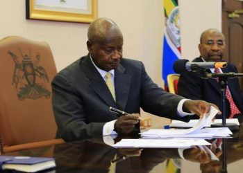 President Museveni and Prime Minister Ruhakana Rugunda during a cabinet meeting recently