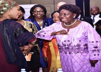 Speaker of Parliament Rebecca kadaga and Ambassadors MacDella Cooper grace Kadaga the high level women's conference and dinner gala to celebrating women in infrastructure at Sheraton Hotel (PHOTO/PML Daily)