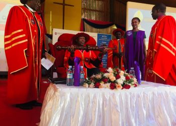 The Most Rt. Rev. Samuel Stephen Kaziimba Mugalu the Archbishop of the Church of Uganda was installed new UCU Vice Chancellor (PHOTO/Elizabeth Namajja)