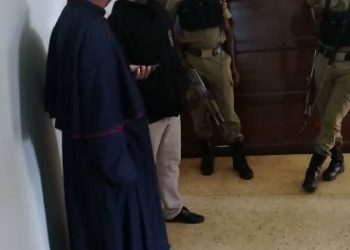 Christ the King Parish Priest also Kampala Archdiocese Vicar General Msgr. Gerald Kalumba summoned by police for saying mass (PHOTO/Screengrab)