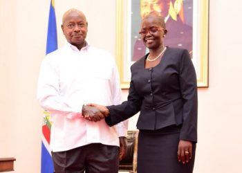 Justice Jane Frances Abodo, the newly appointed Director of Public Prosecution with President Museveni (PHOTO/PPU).