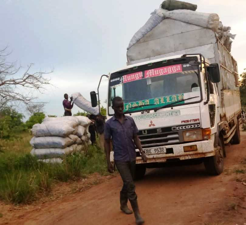 The Fuso lorry carrying charcoal that was intercepted by Abim RDC Mr. Samuel Hasahaka (PHOTO/Jonathan Opolot).