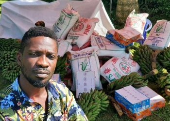 People Power political pressure group leader Bobi Wine has distributed food to the less privileged despite Museveni's threats to charge anyone found so doing with attempted murder (PHOTO/Courtesy).