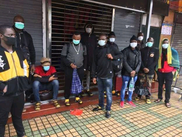 Some of the Ugandans stuck in China and accusing Chinese of racism (PHOTO/Courtesy).
