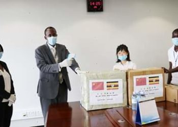 URA Officials led by the Commissioner General receive the donated masks (PHOTO/Courtesy).