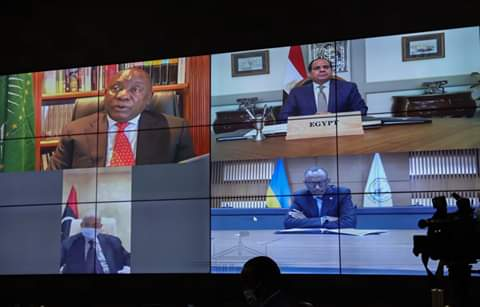 Some of African leaders in a video conferencing meeting