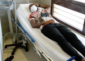 Eddie Kenzo Kenzo pictured in an Abijan hospital earlier today (PHOTO/Courtesy).