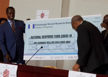 Buganda Kingdom through Prince Wasajja has donated UGX. 100M to the Government of Uganda as contribution to the National Task force to help them in the fight against the spread of COVID-19 (PHOTO/Courtesy)