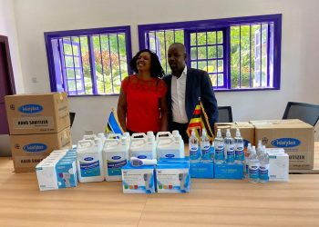 Mr. Thomas Tayebwa and wife Anita flaggex off the donation to Mitoma district on Wednesday (PHOTO/Courtesy).