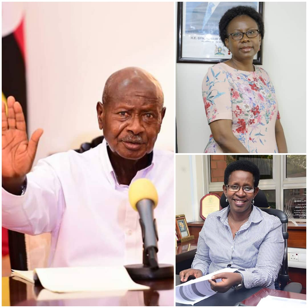 Preside Museveni (L), and his frontline team lead by Health Minister Dr. Ruth Jane Aceng (topR) and Health PS Dr. Diana Atwine (bottomR). The Ministry of Health is under spotlight over inflated Covid-19 test kits (PHOTO/File).