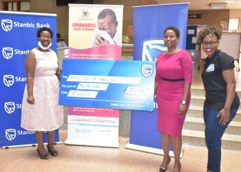 Stanbic Bank Uganda through CEO, Anne Juuko donated UGX 100M towards the COVID-19 response in Uganda (PHOTO/Courtesy)