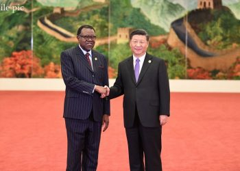 Chinese President Xi Jinping (R) welcomes Namibian President Hage Geingob, who is here to attend the 2018 Beijing Summit of the Forum on China-Africa Cooperation (FOCAC), at the Great Hall of the People in Beijing, capital of China, Sept. 3, 2018. (Xinhua/Yan Yan)