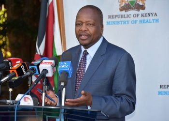 Kenya's Health Cabinet Secretary Mutahi Kagwe during a presser (PHOTO/Courtesy)