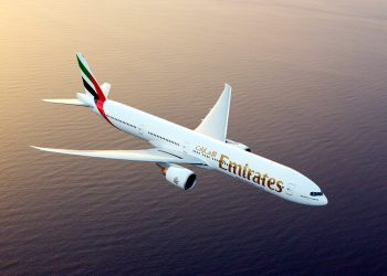 Emirates Boeing 777-300ER photographed on August 17, 2015 from Wolfe Air Aviation's Lear 25B (PHOTO/Courtesy)