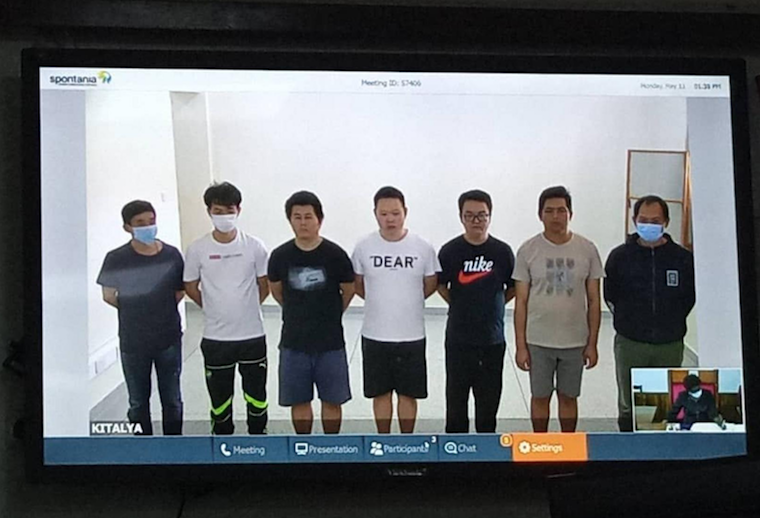 Some of the Chinese nationals appear before court through video conferencing (PHOTO/Courtesy).