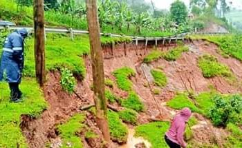 The Mbarara-Kabale Road that has been partly swept away by