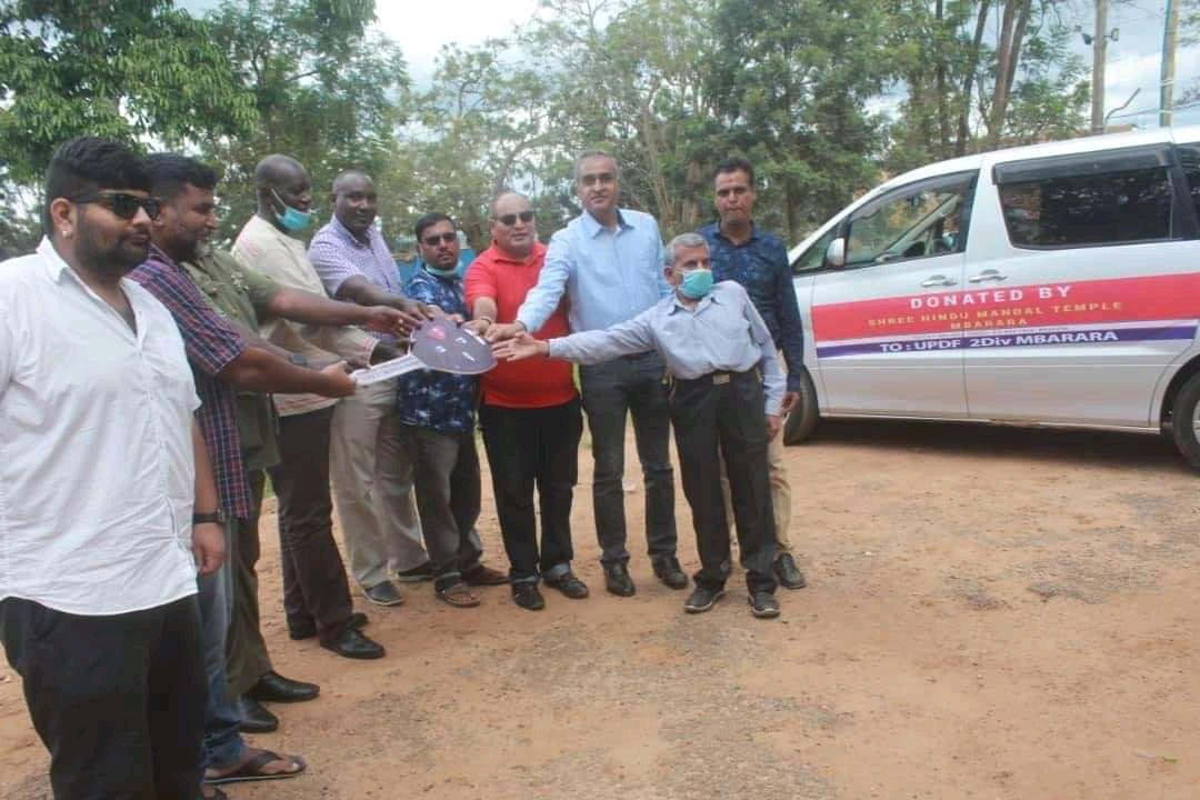 Mbarara Indian community handing over their donations to the district taskforce (PHOTO/Courtesy).