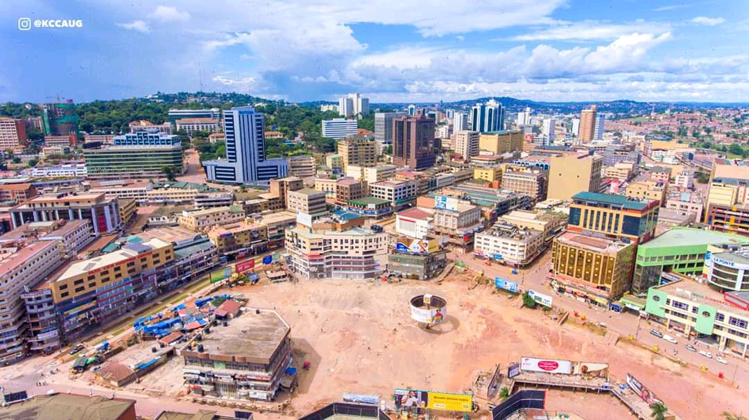 The aerial view of Kampala city and old taxi park
