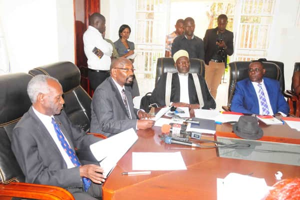 Some of the members of the Inter Religious Council of Uganda addressing press recently (PHOTO/File).