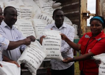 While receiving the food on behalf of Mukono District Taskforce, Dr. Fred Yiga, the chairperson of the Relief Sub-Committee – Mukono district appreciated the Coca-Cola fraternity for supporting the efforts of the government (PHOTO/File)