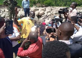 State Minister for Disaster and Preparedness, Mr Musa Ecweru visits the affected Kasese people (PHOTO/Courtesy)
