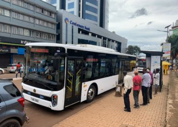 Some of the Kiira Motors buses being showcased in the city centre on Friday (PHOTO/PML Daily).