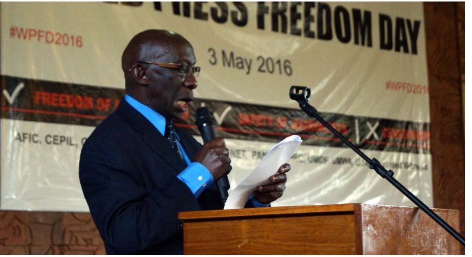 Dr Katebalirwe Amooti Wa Irumba, acting chairperson of the Uganda Human Rights Commission at the World Press Freedom Day colloquium hosted by African Centre for Media Excellence