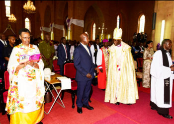 President Museveni and First Lady attend service at Namirembe Church of Uganda recently (PHOTO/File).