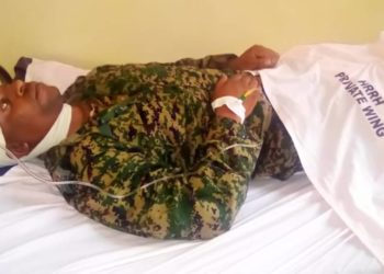 Maj Robert Nkwasibwe of National Leadership Institute Kyankwanzi lies in hospital (PHOTO/Courtesy)