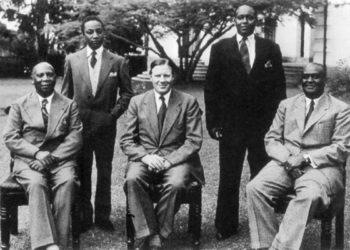 Left to right: Omukama Tito Winyi IV of Bunyoro, Kabaka Edward Muteesa II of Buganda, Governor of Uganda Andrew Cohen, Ankole's king Charles Godfrey Gasyonga II and George David Kamurasi Rukidi III of Tooro in the 1950s. Kingdoms were banned in Uganda in 1966 and restored in 1993, except for Ankole (PHOTO/File).