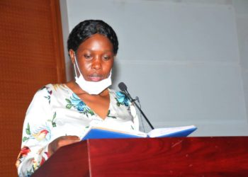 Judith Nabakooba, the Minister of ICT and National Guidance ptresenting ministerial performance