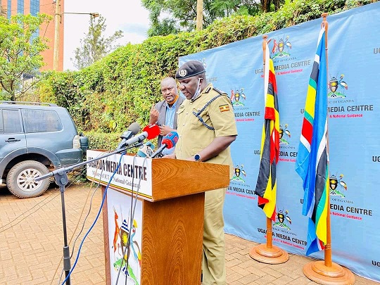 Police Spokesperson Fred Enanga addressing press at Uganda Media Center recently (PHOTO/File).