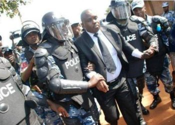 Kampala Lord Mayor Erias Lukwago being arrested earlier (PHOTO/File).