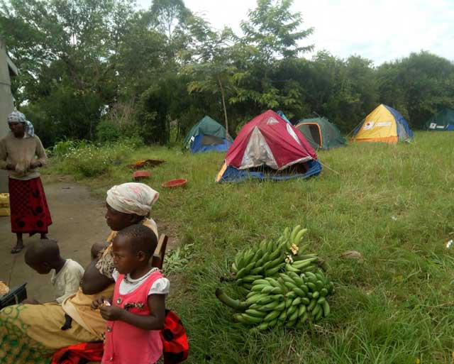 Some of the Kasese floods victims camp at safe place after losing all their properties (PHOTO/Courtesy).