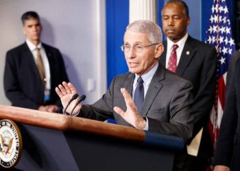 Anthony Fauci (front), director of the U.S. National Institute of Allergy and Infectious Diseases (NIAID), speaks during a press conference on the coronavirus at the White House in Washington D.C., the United States, March 4, 2020. (Photo by Ting Shen/Xinhua)