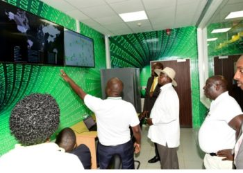 President Museveni and NITA ED James Saaka during the launch of Uganda's first tier 3 Data centre (PHOTO/Courtesy).